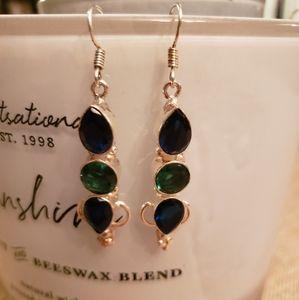 SAPPHIRE & EMERALD Handmade silver earrings